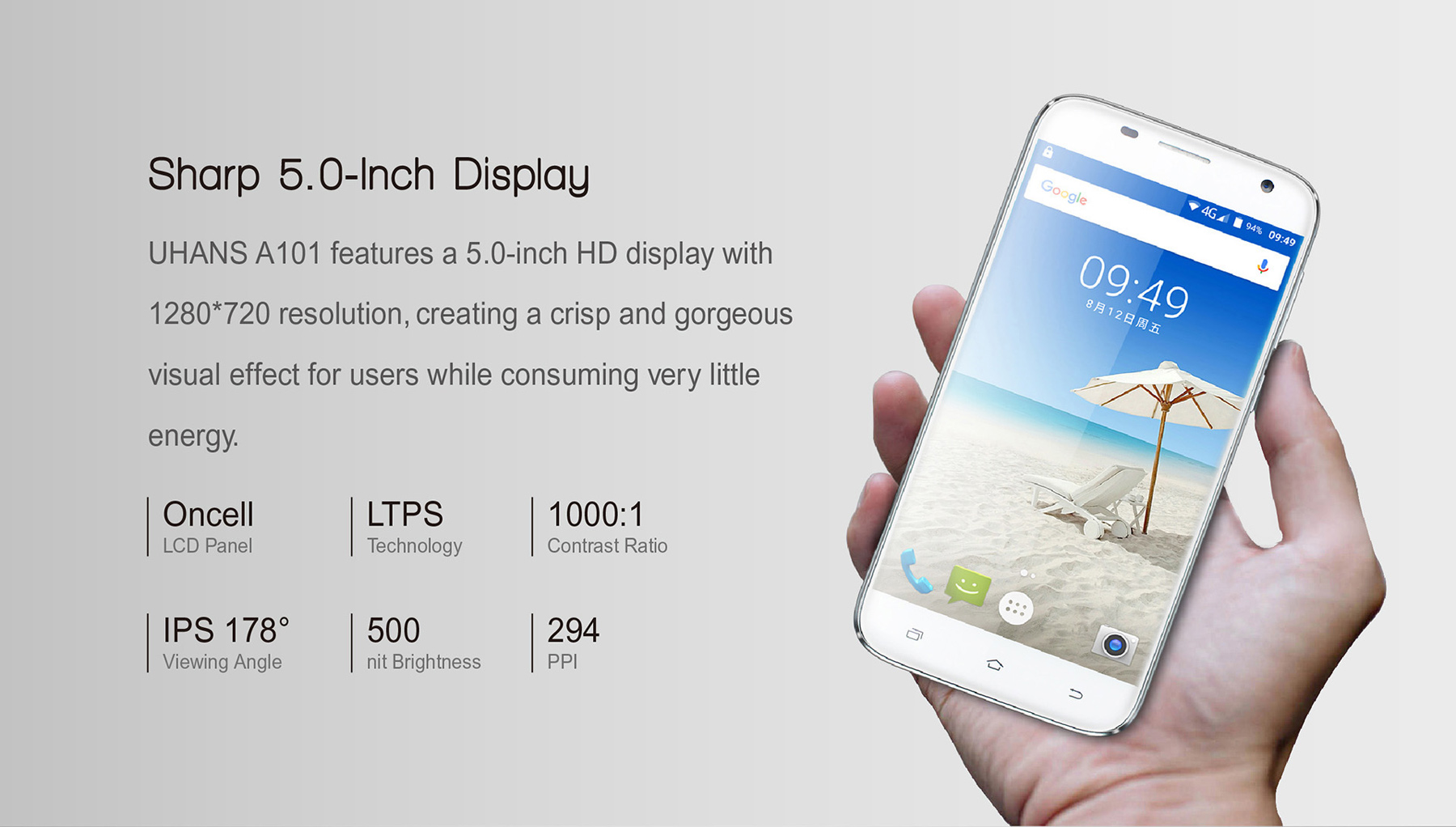 UHANS A101 Android 6.0 5.0 inch 4G Smartphone MT6737 1.3GHz Quad Core 1GB RAM 8GB ROM Bluetooth 4.0 GPS A-GPS