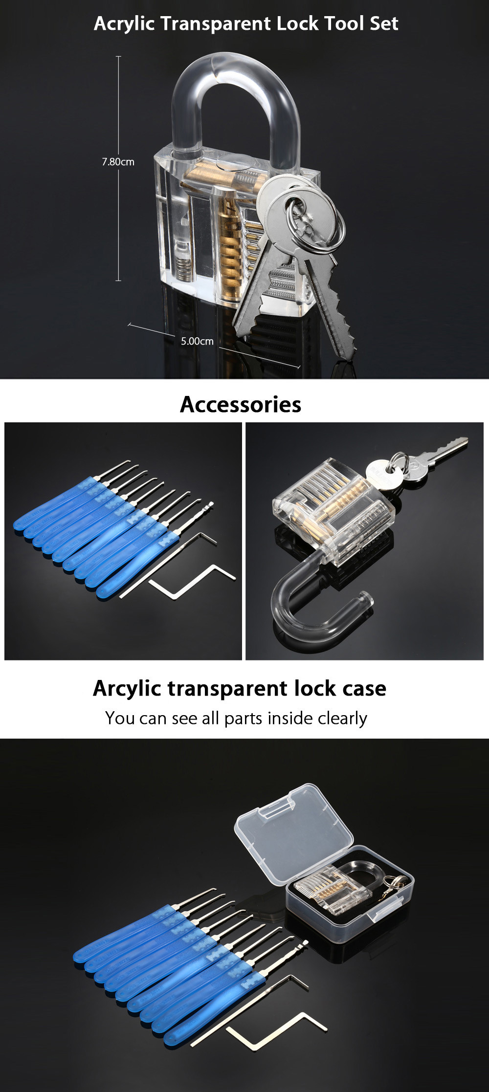 Acrylic Transparent Lock Tool Set