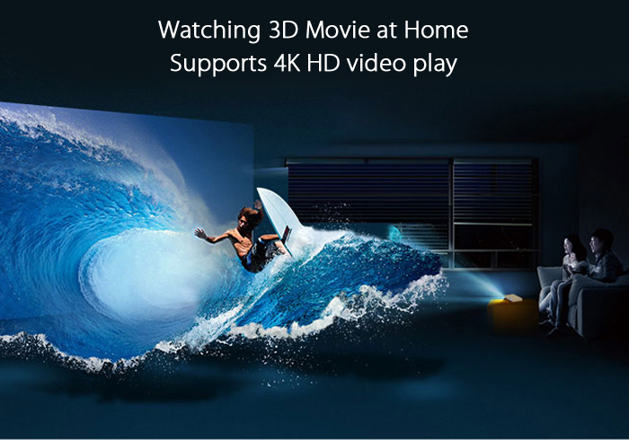 LAZERTOUCH Intelligent LED DLP Projector Android 4.4 3000Lm 1280 x 800 Pixels Home Theater Support WiFi Bluetooth 4.0 4K