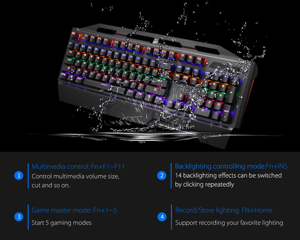 Elephone ELeEnter Game 2 104 Key Wired Game Keyboard with Blue Switch