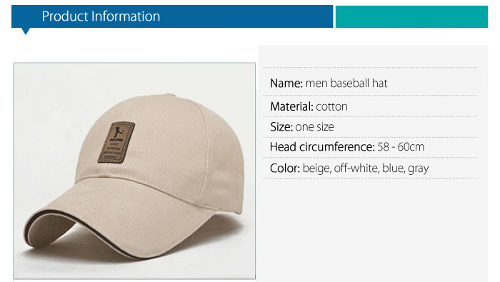 Men Solid Color Cotton Adjustable Peaked Cap Sun Baseball Hat for Outdoor Sports
