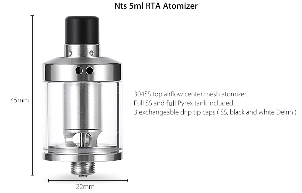 Nts RTA 5ml E Cigarette Rebuildable Tank Atomizer with Top Airflow / Center Mesh / Extra Open Feeder Deck