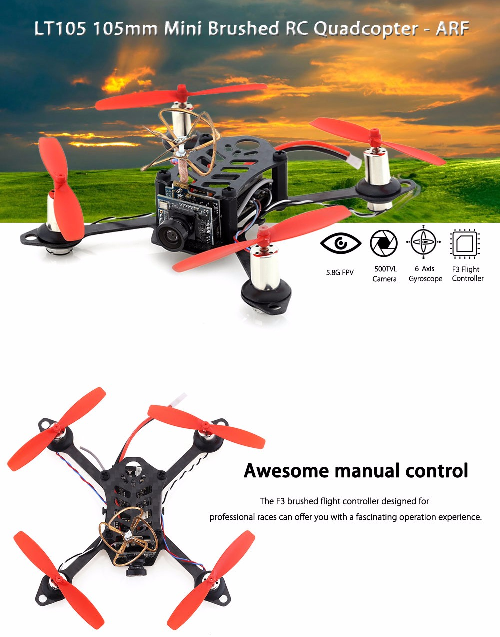 LT105 105mm 5.8G FPV 500TVL 6 Axis Gyro Mini Indoor RC Racing Brushed Quadcopter - ARF
