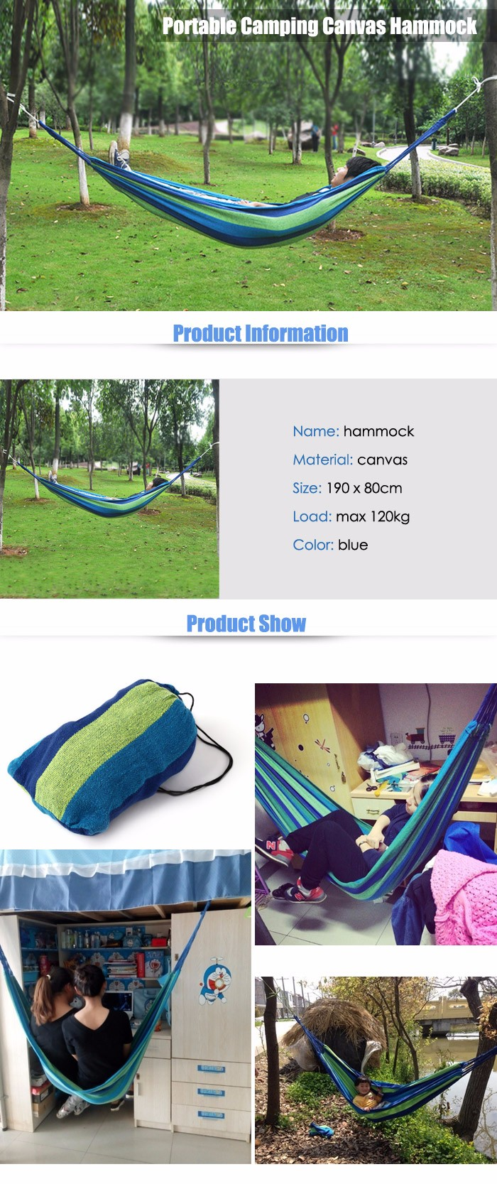 Durable Camping Canvas Hammock with 120KG Loading