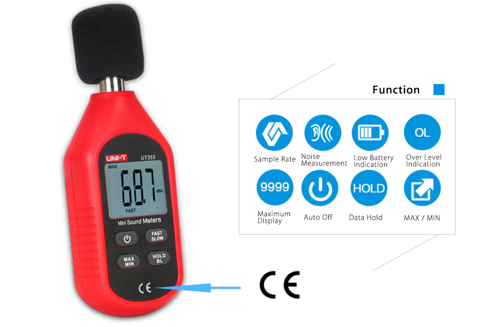 UNI - T UT353 Digital Noise Sound Level Meter 30 - 130dB with LCD Display