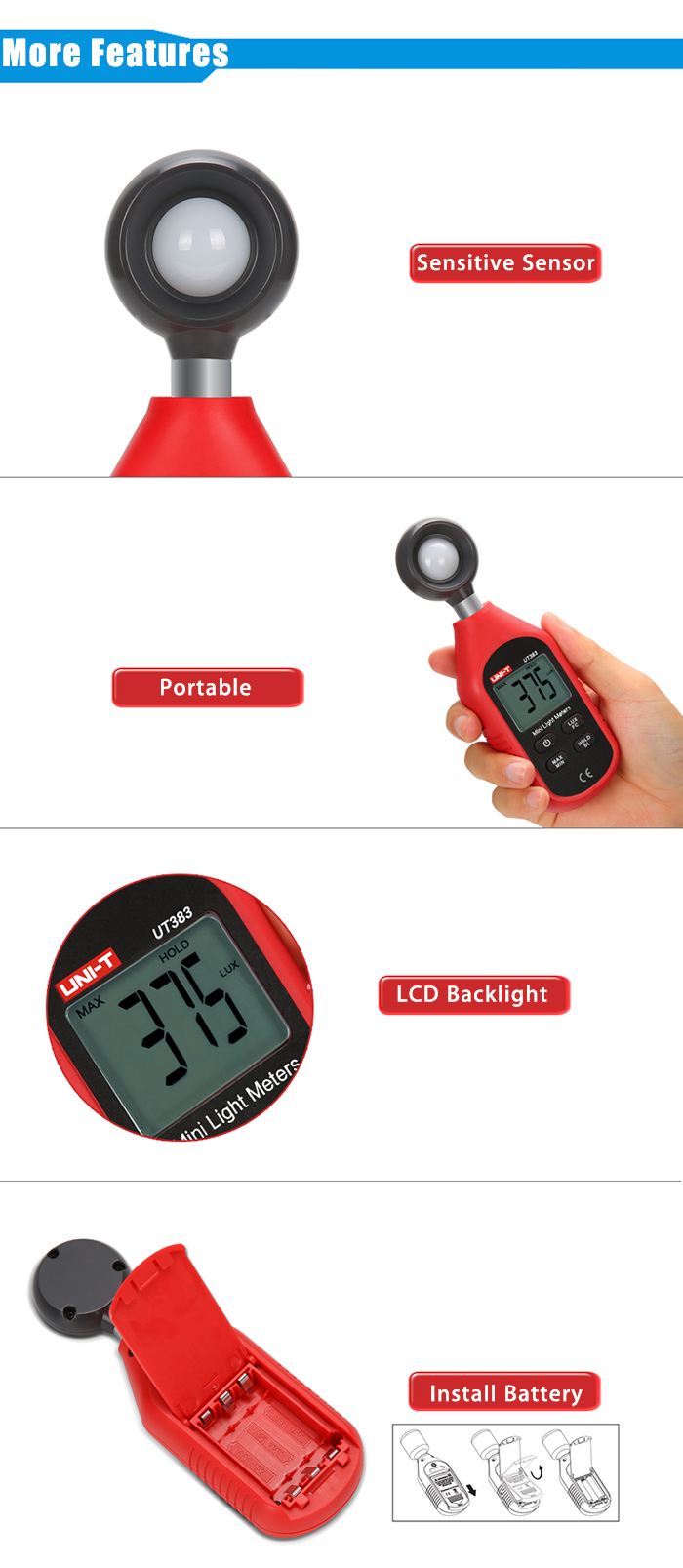 UNI - T UT383 Portable 200000 Lux Light Meter with LCD Screen