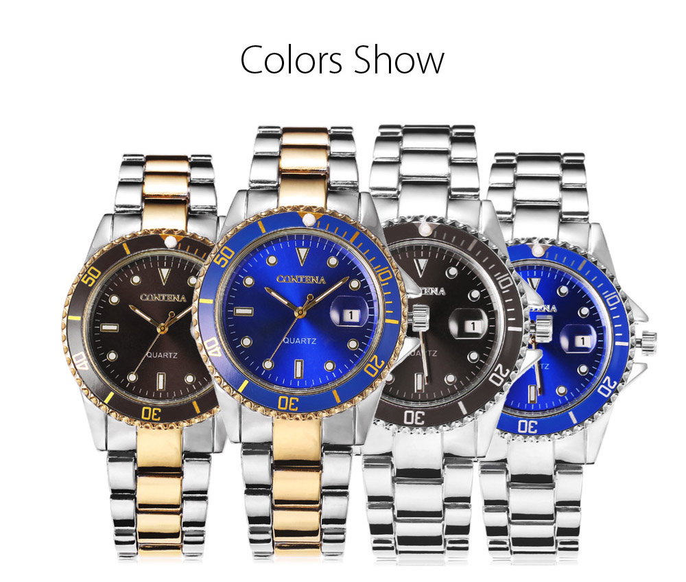 CONTENA Casual Male Quartz Watch with Small Convex Lens