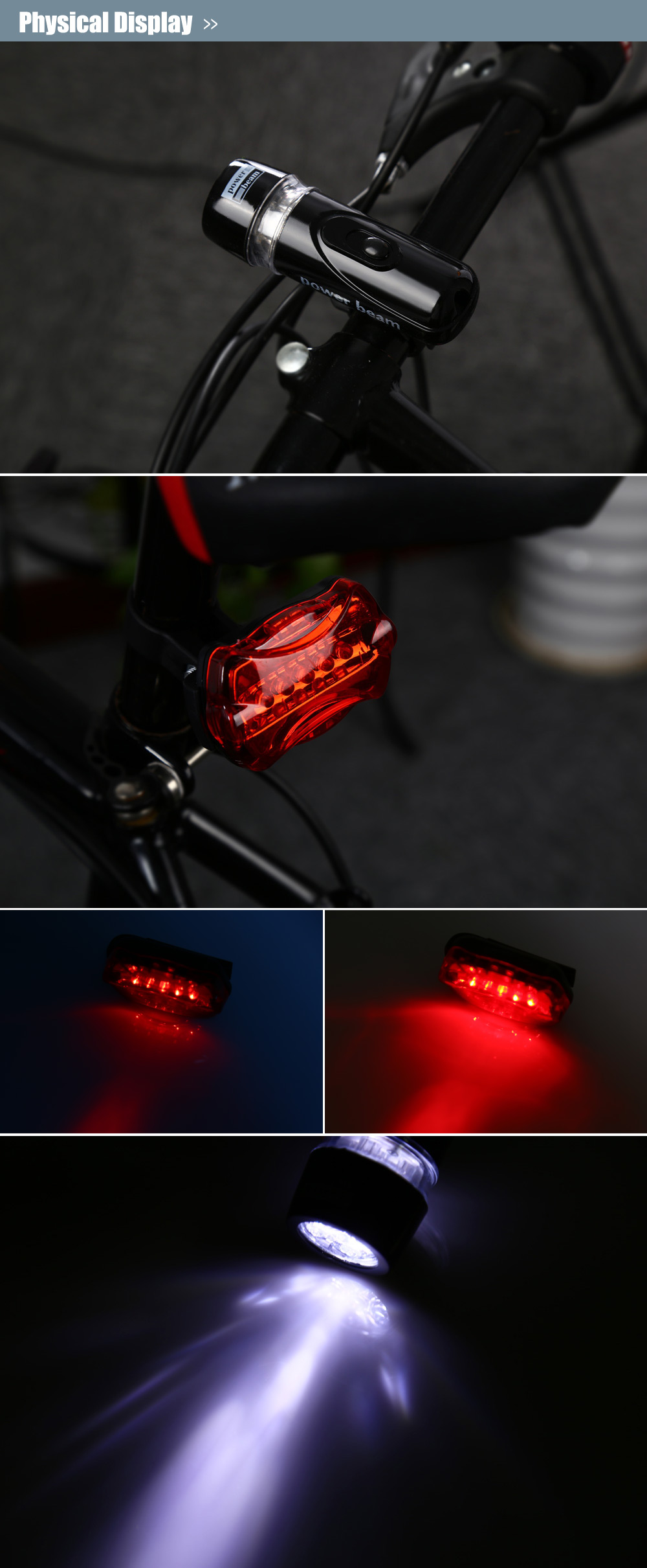 Practical 5-LED Bike Head Flash Light Torch and Bicycle Rear Tail Warning Lamp (Black with Red)