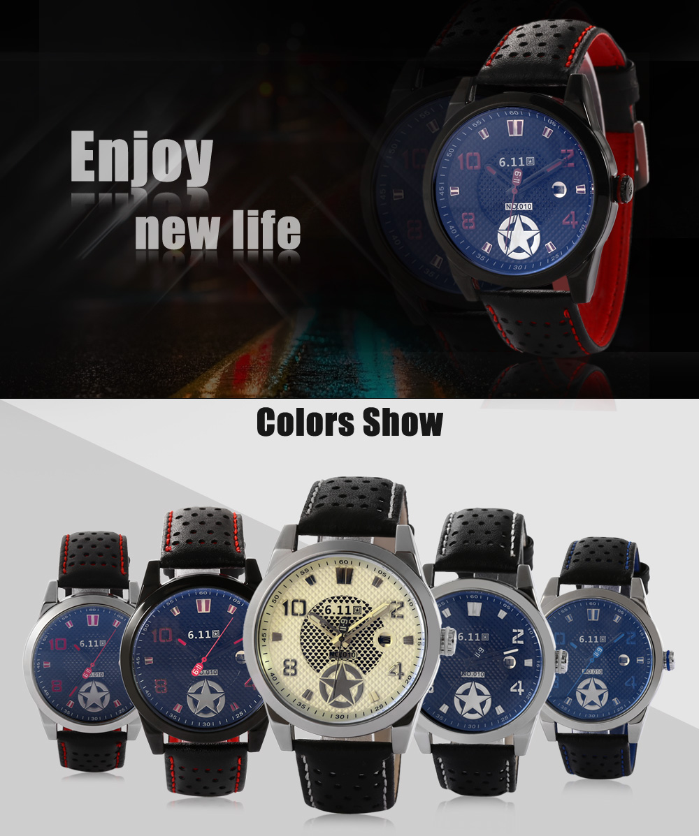 6.11 010B Fashion Male Quartz Watch with Breathable Holes Genuine Leather Strap