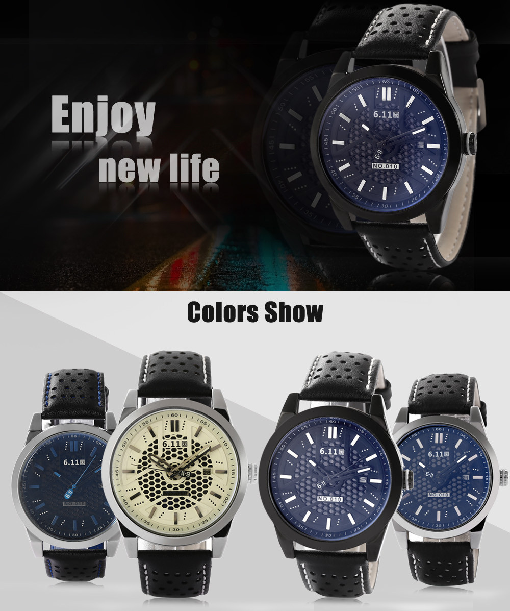 6.11 010C Fashion Male Quartz Watch with Breathable Holes Genuine Leather Strap