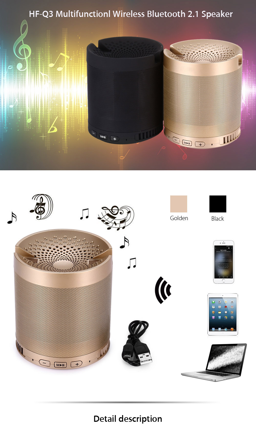 HF - Q3 Wireless Bluetooth 2.1 Speaker HiFi MP3 Player Support Hands-free Call