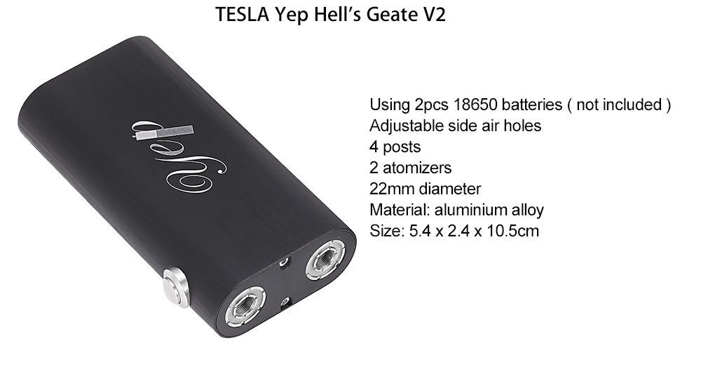 Original TESLA Yep Hells Gate V2 with Side Air Holes / Bottom Airflow / 4 Posts / 22mm Diameter RDA Atomizers