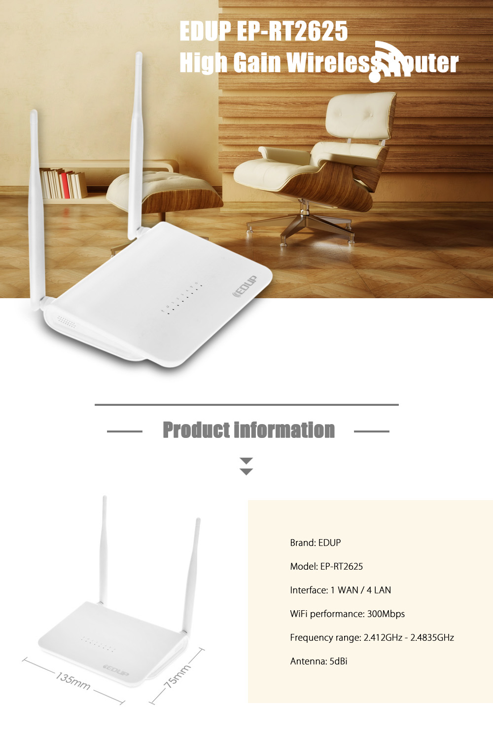 EDUP EP - RT2625 300Mbps Wireless Router WiFi Signal Amplifier