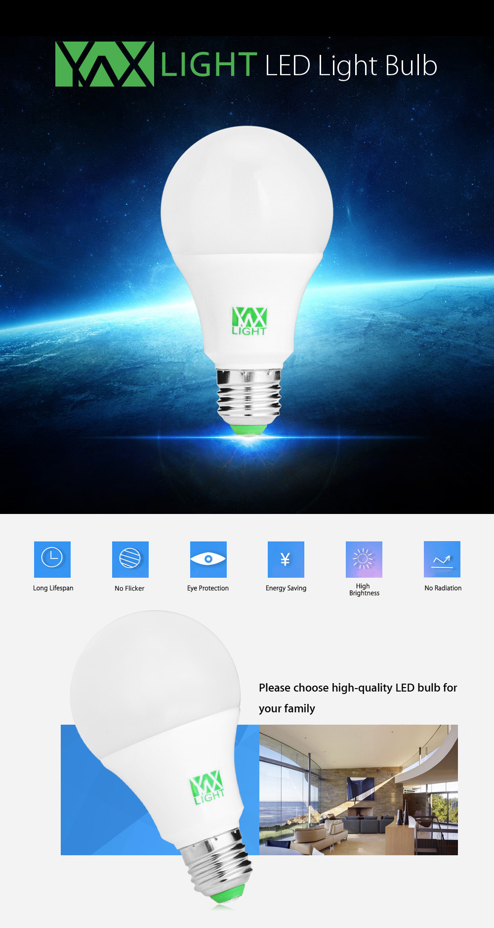 YWXLight RGBW Bombilla LED