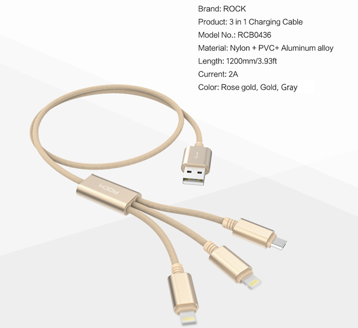 Rock RCB0436 1.2m USB Charging Cable with Dual 8 Pin Adapters + Micro USB Connector Nylon Braided Cord