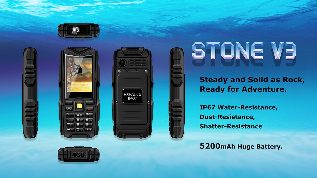 VKworld Stone V3 2.4 inch Quad Band Unlocked Phone IP67 Waterproof Dustproof Dropproof Dual SIM MP3 Flash Light Power Bank