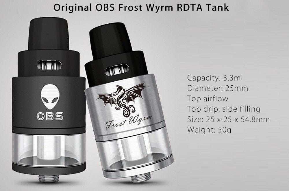 Original OBS Frost Wyrm RDTA Atomizer with Top Drip / Top Airflow / Side Filling / 25mm Diameter / 3.3ml Capacity for E Cigarette