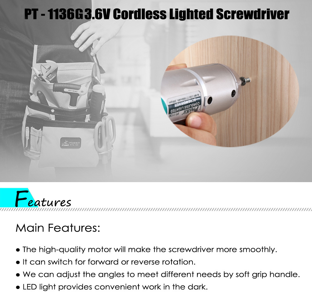 Proskit PT - 1136G Cordless Electronic Screwdriver Rechargeable Repair Tool