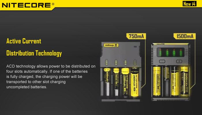 Nitecore NEW i4 Smart Universal Battery Charger Active Current Distribution