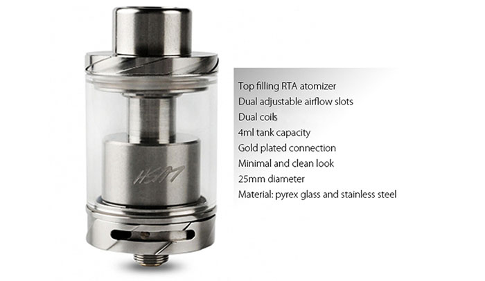 Original Wotofo Lush RTA 25mm Atomizer with 4ml Capacity / Top Filling Design / Dual Adjustable Airflow Slots / Dual-post Build Deck for E Cigarette