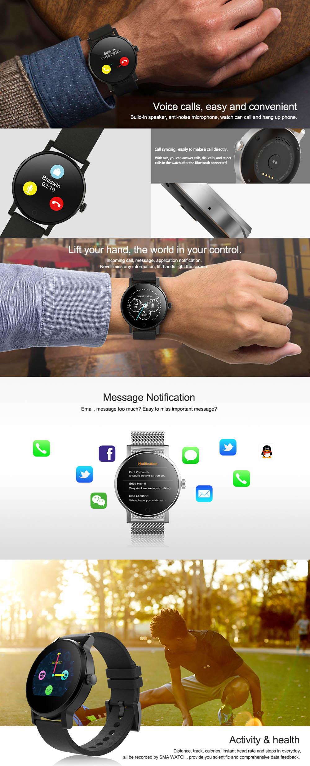 SMA - 09 Heart Rate Monitor Smart Watch with Alarm Phonebook Voice Record