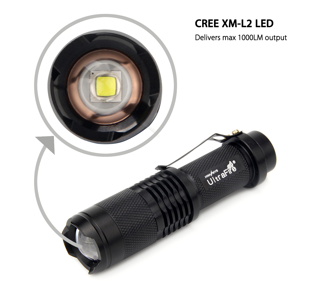 UltraFire SK98 1000LM CREE XM - L2 Zooming Handy LED Flashlight