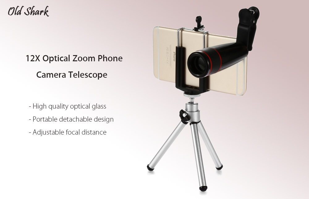 Old Shark 12X Optical Zoom Telephoto Lens Mobile Phone Camera Telescope with Case Tripod