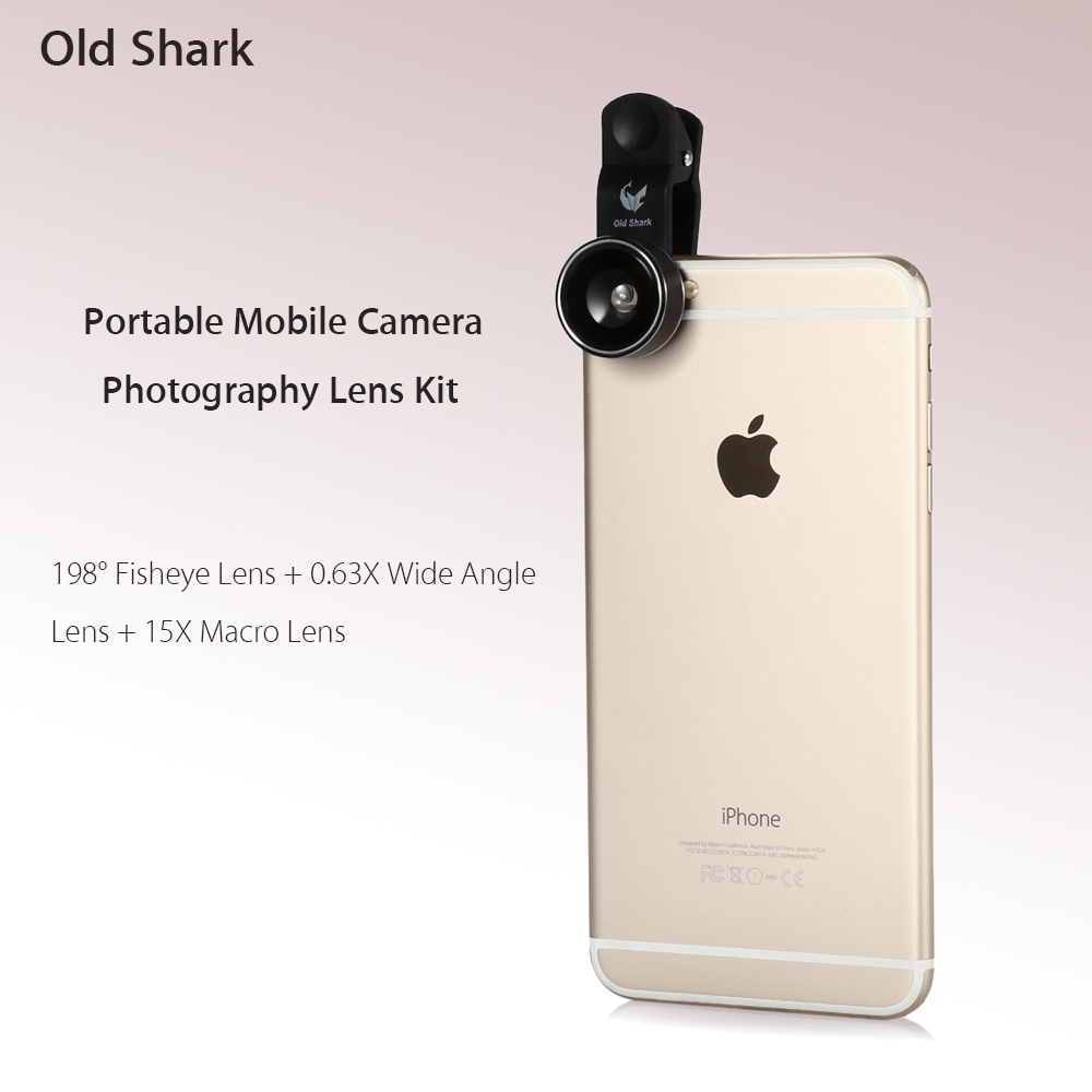 Old Shark 3-in-1 Phone Lens Kit with 198 Degree Fisheye + 0.63X Wide Angle + 15X Macro Lens