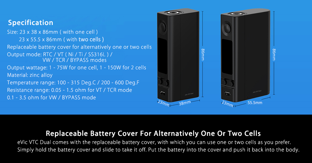 Original Joyetech eVic VTC Dual Box Mod with Single or Dual Replaceable Battery / 1 - 75W / 150W / 200 - 600F for E Cigarette