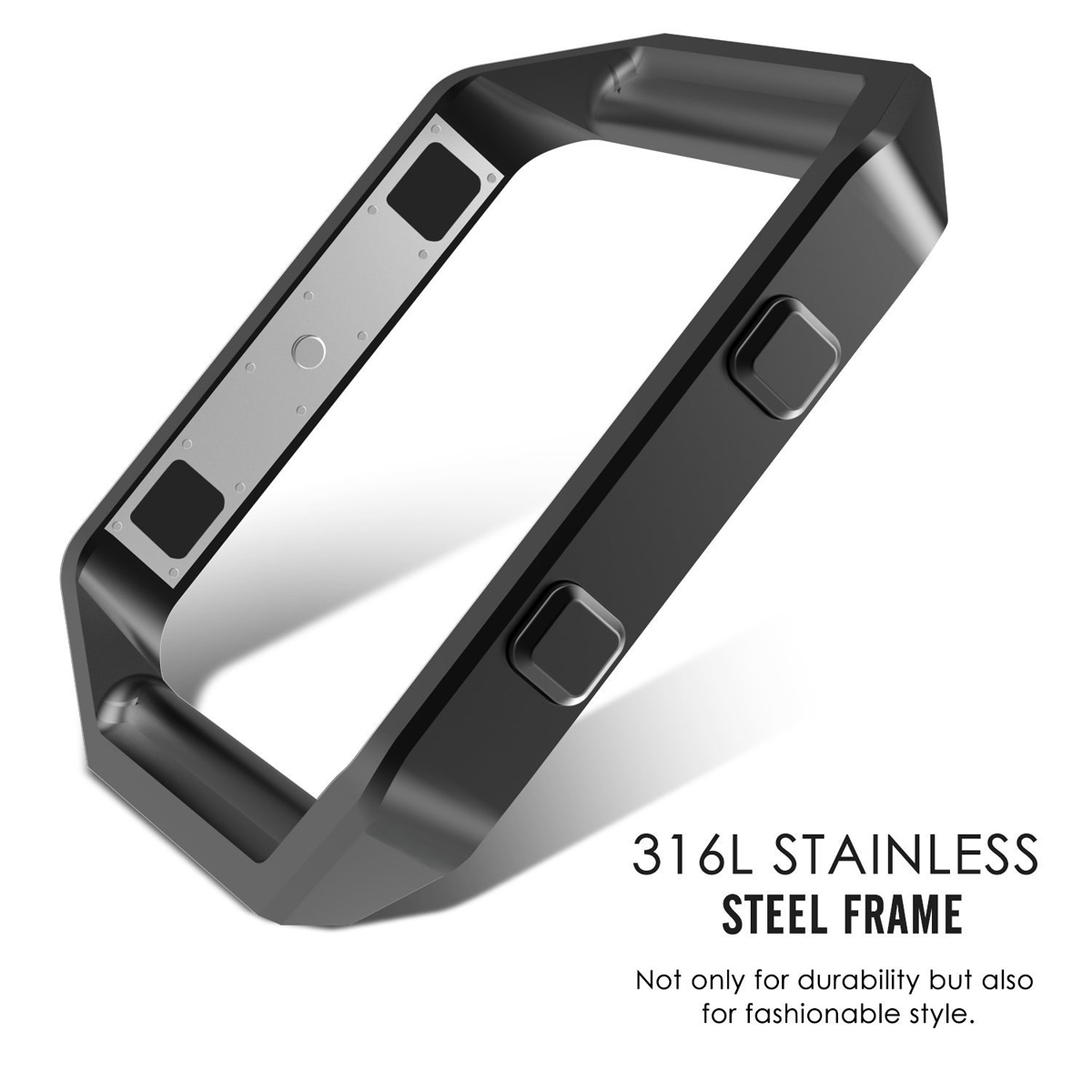 Bamboo Shaped Stainless Steel Band + Case for Fitbit Blaze