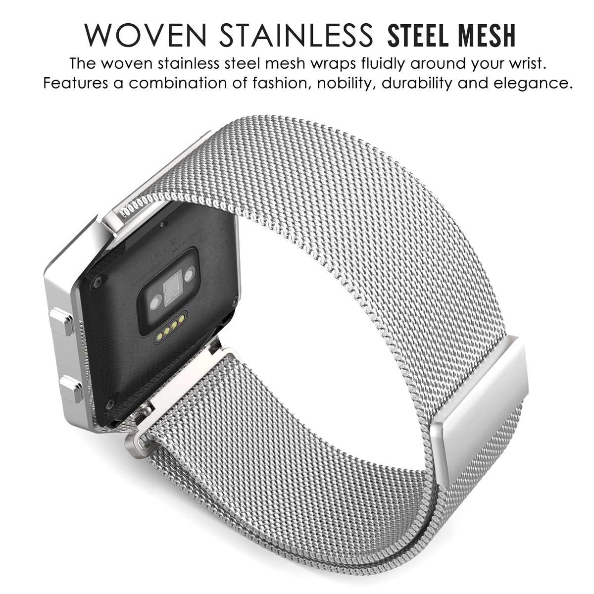 Milanese Band with Silver Case for Fitbit Blaze Smart Watch