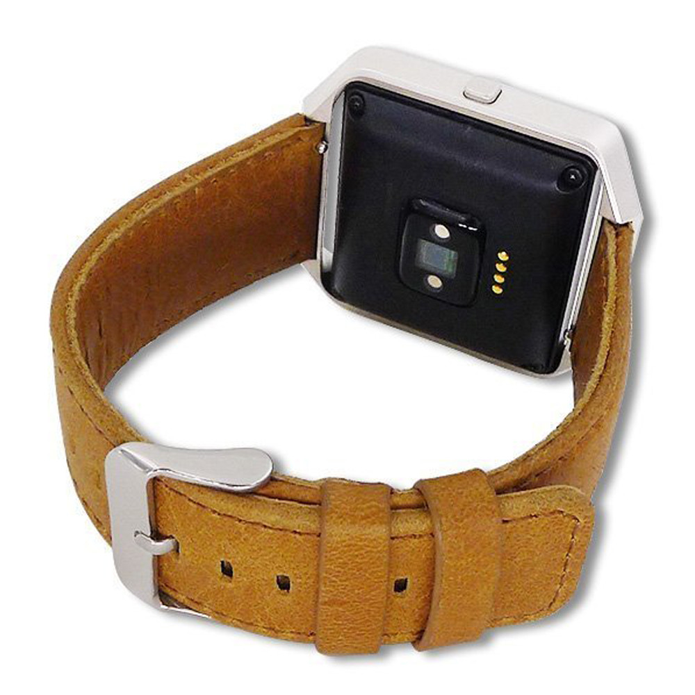 Crazy Horse Leather Band with Silver Case for Fitbit Blaze Smart Watch