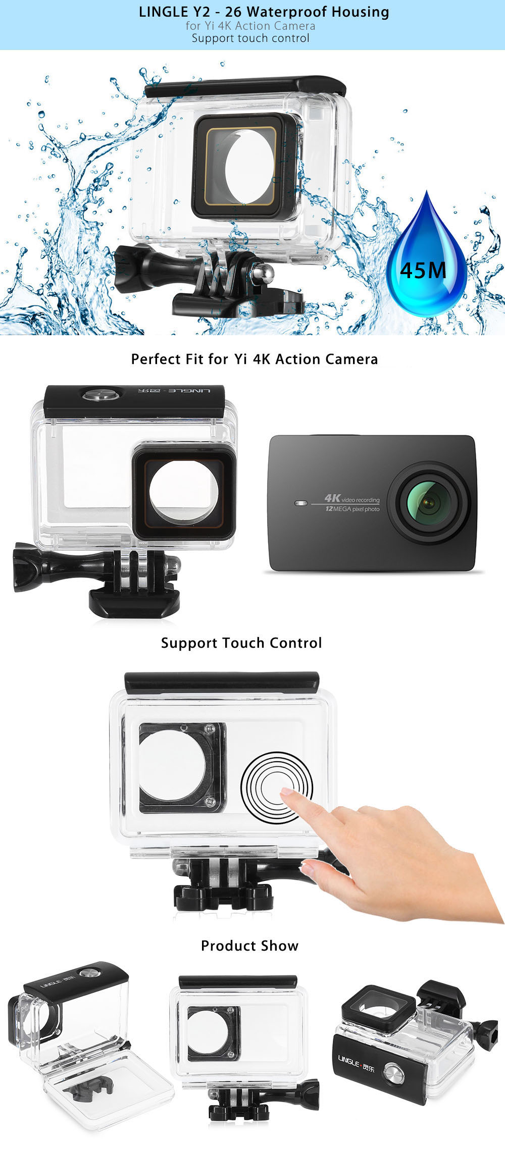 LINGLE Y2 - 26 45M Waterproof Housing for YI 4K Action Camera with Touch Control Function