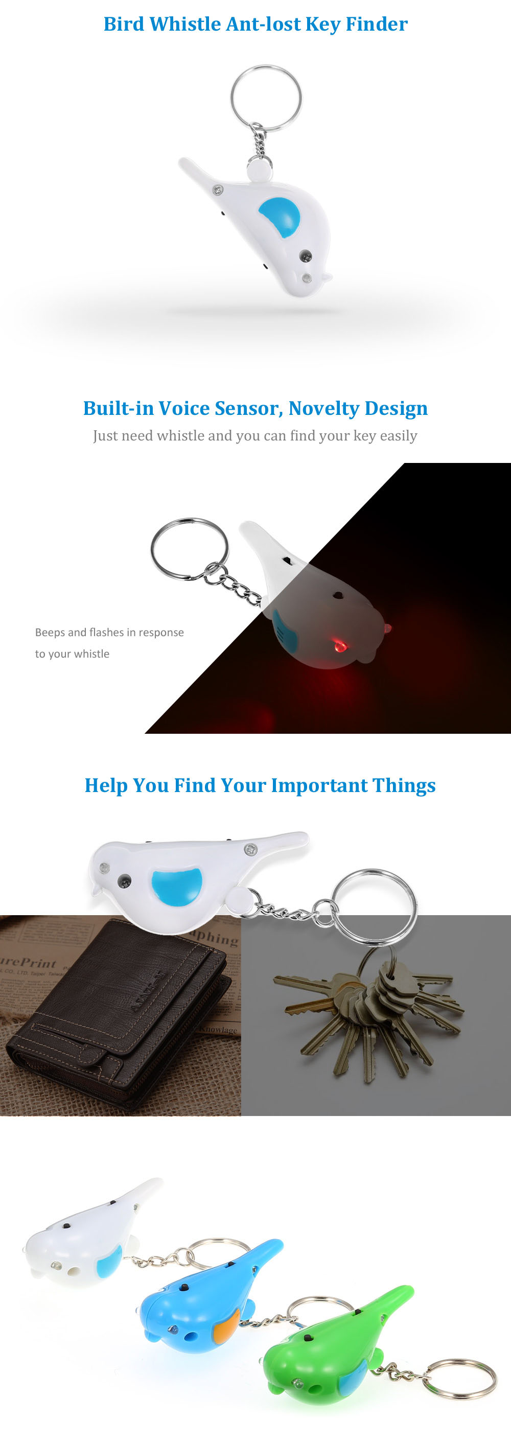 Bird Shaped Whistle Anti-lost Key Finder Ring Voice Control
