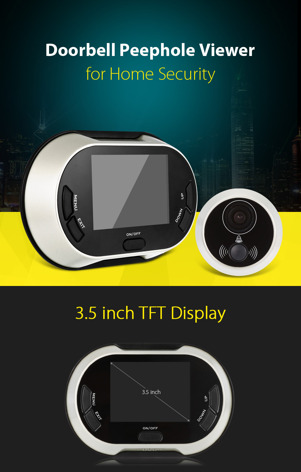 3.5 inch TFT Screen Visual Doorbell Photo Taking Function Night Vision
