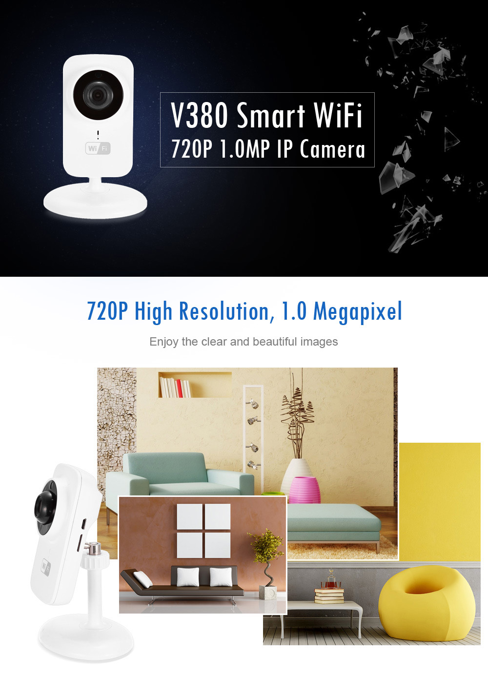 V380 Security WiFi IP Camera 720P Night Vision Two-way Voice Support 64G TF Card