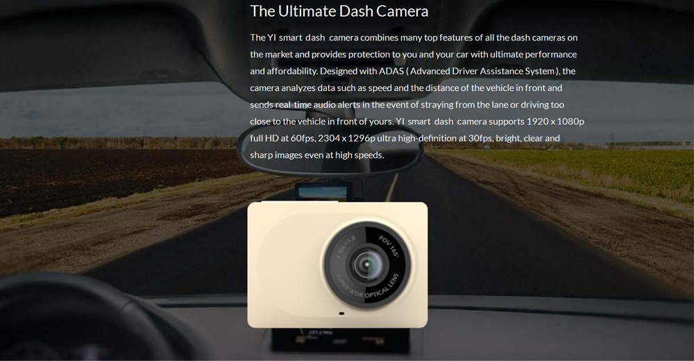Xiaoyi YI Smart Car Dash Camera with ADAS 165 Degree Ultra Wide-angle Lens 1080P Night Vision 2.7 inch LCD Screen