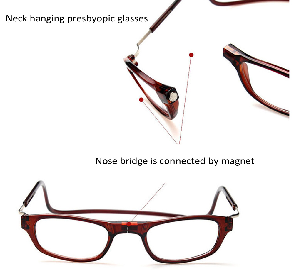 Foldable Magnetic Reading Presbyopic Glasses Resin Lens Neck Hanging Style for Old People +1.0 / +1.5 / +2.0 / +2.5 / +3.0