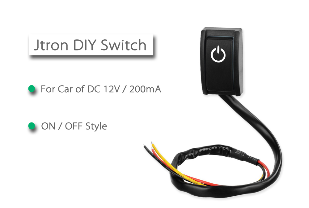 Jtron DIY ON / OFF Style Car Switch DC 12V / 200mA White LED Light