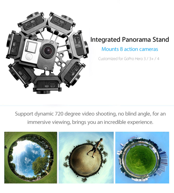 FOREVER100 FG7 + 1 Panorama Photography Action Camera Stand 8 Frame for GoPro Hera 3 / 3+ / 4
