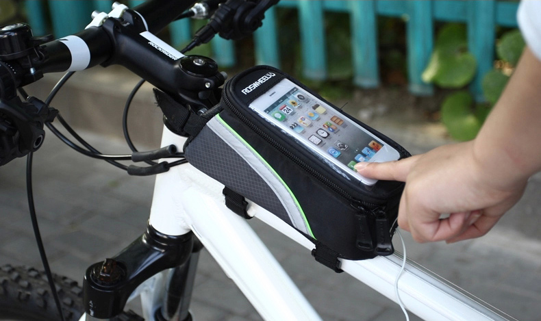 Roswheel 12496 Bicycle Mountain Bike Frame Tube Mobile Phone Case with Touchscreen + Reflective Stripe