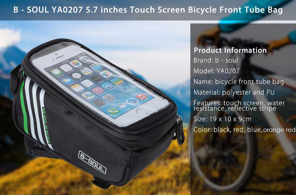B - SOUL YA0207 1.8L Water Resistant 5.7 inch Touch Screen Bicycle Front Tube Bag