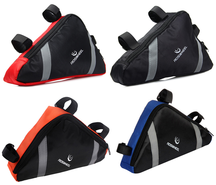 Roswheel 12490 Bicycle Triangle Bag with Reflective Strips Mountain Road Front Frame Bike Pouch