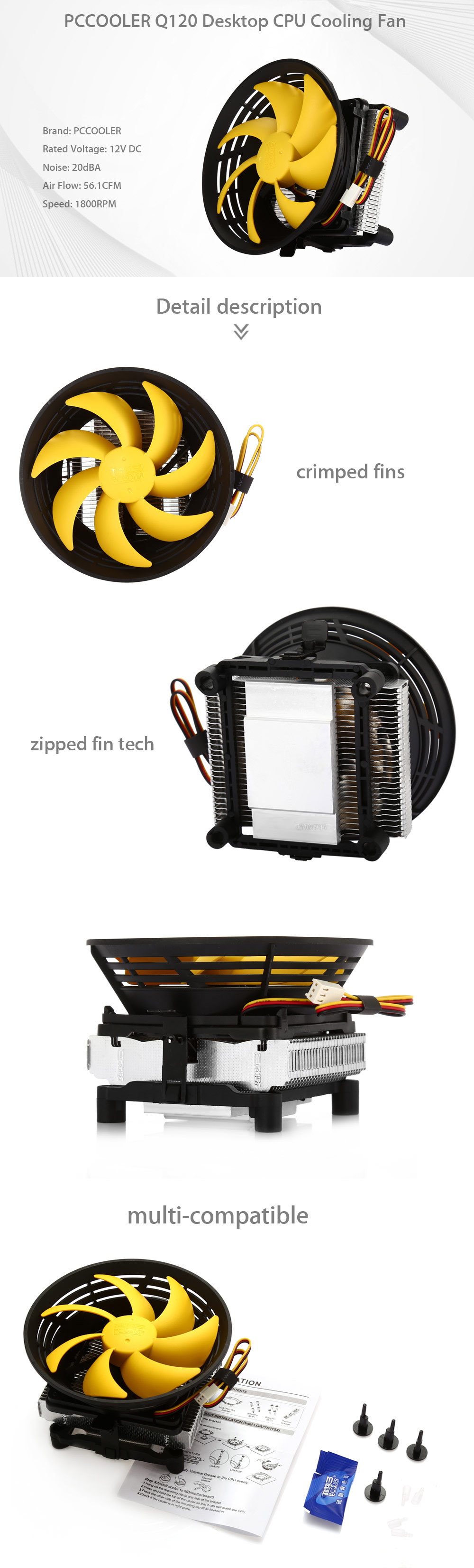 PCCOOLER Q120 Desktop CPU Cooling Fan Temperature Controller with Fin Compressed Technology