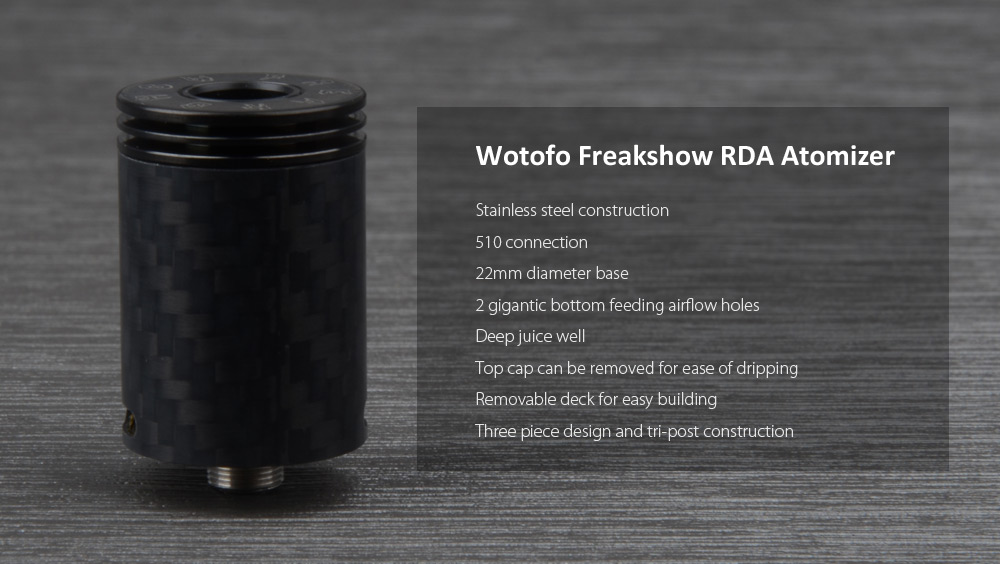 Original Wotofo Freakshow RDA with Bottom Airflow Method / Color Changeable Tank E Cigarette Rebuildable Dripping Atomizer
