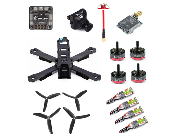 GB - X220 Carbon Fiber DIY Frame Kit RC Racing Drone with RS2205 Motor / DYS 30A ESC / TS5813S Transmitter / RunCam 600TVL CAM