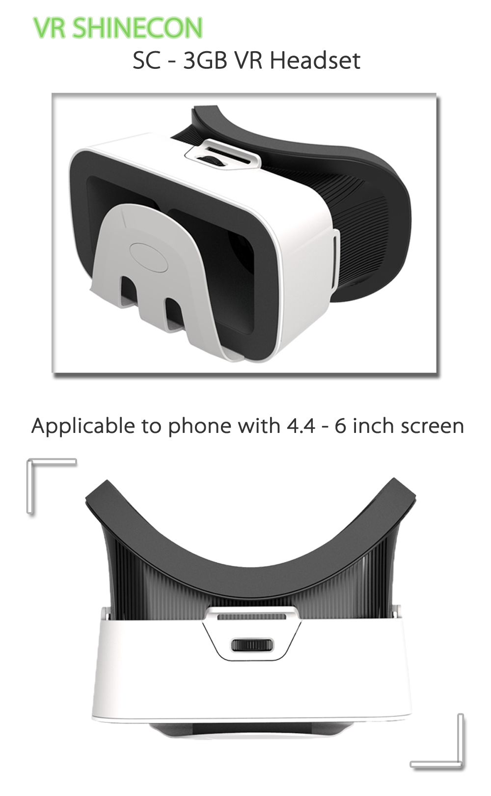 VR SHINECON SC - 3GB VR Headset 3D Glasses for 4.4 - 6 inch Phone