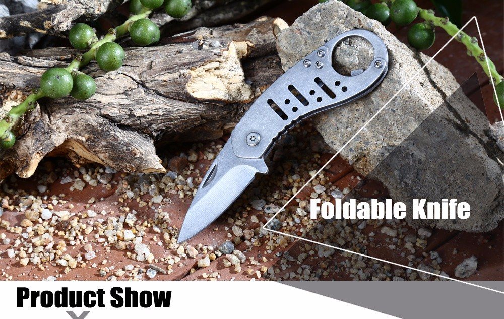 Outdoor Survival No Lock Foldable Knife with Bottle Opener Function