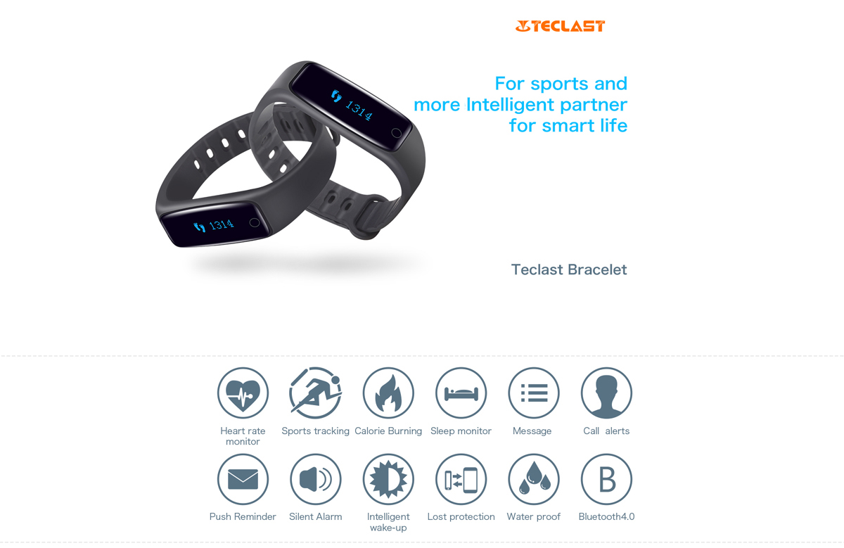 Teclast H30 Sleeping Track Heart Rate Monitor Smart Wristband Bidirectional Anti-lost