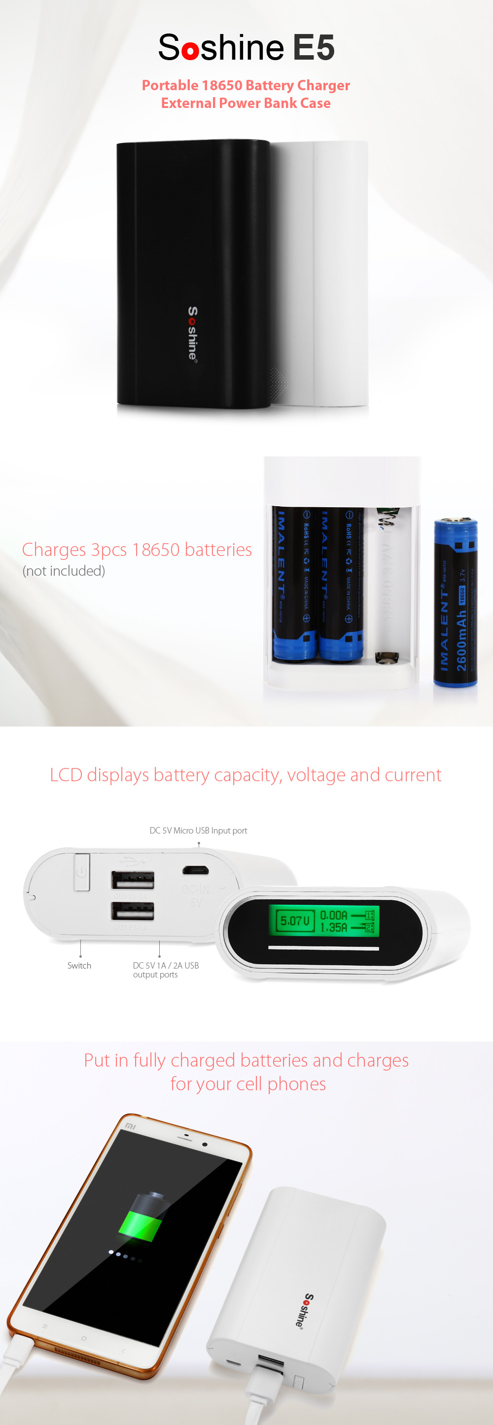 Soshine E5  18650 USB LCD Battery Charger 3 Slots External Power Bank